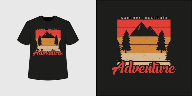 Стиль футболки летнего горного приключения и модный дизайн одежды с силуэтами деревьев и гор, типографикой, принтом, векторной иллюстрацией.