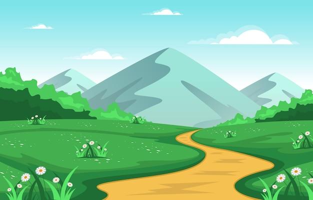 Summer mountain green nature field land sky landscape illustration
