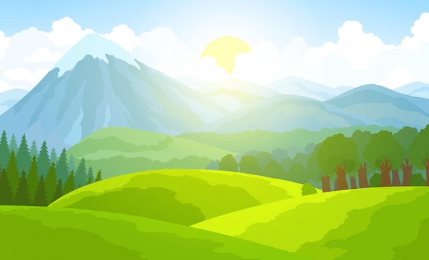 Summer mountain landscape. green valley vector illustration