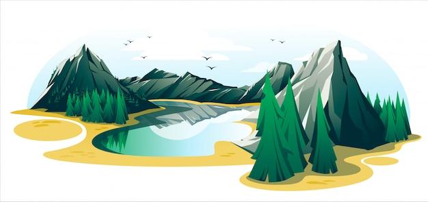 Summer mountain landscape isolated on white background