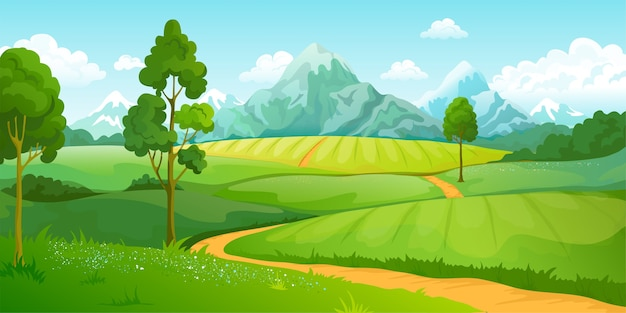 Summer mountains landscape illustration