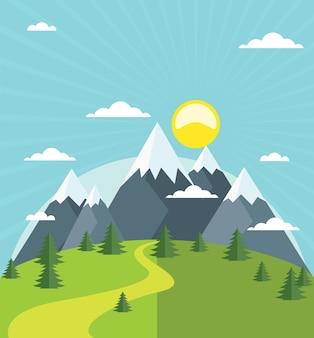 雪に覆われた山頂のある夏の山々