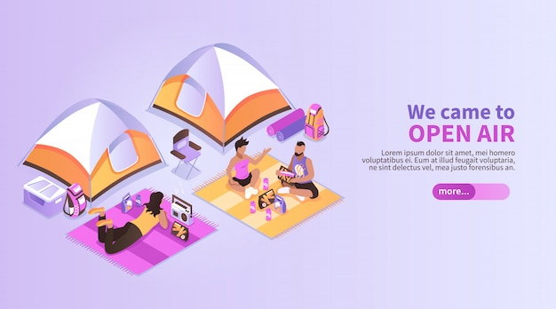 Summer music festival isometric  with people coming to open air listening music