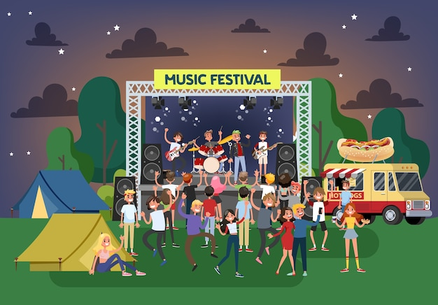 여름 음악 축제 야외. 사람들의 군중 춤