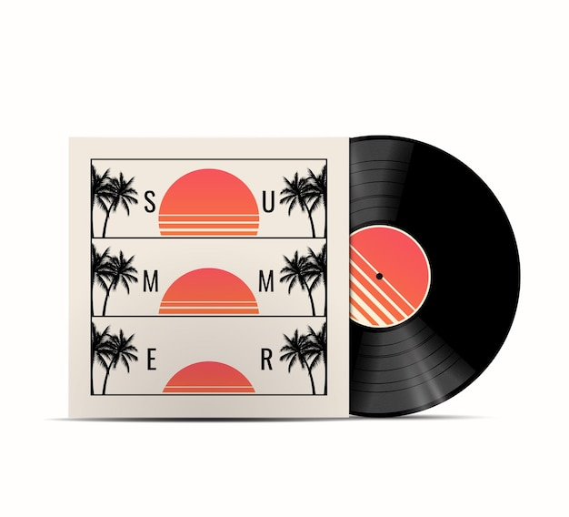 커버에 여름 일몰이 있는 현실적인 비닐 디스크 모형이 있는 여름 음악 재생 목록 커버 개념