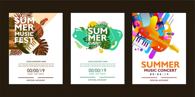 Summer music poster template with colorful shape.