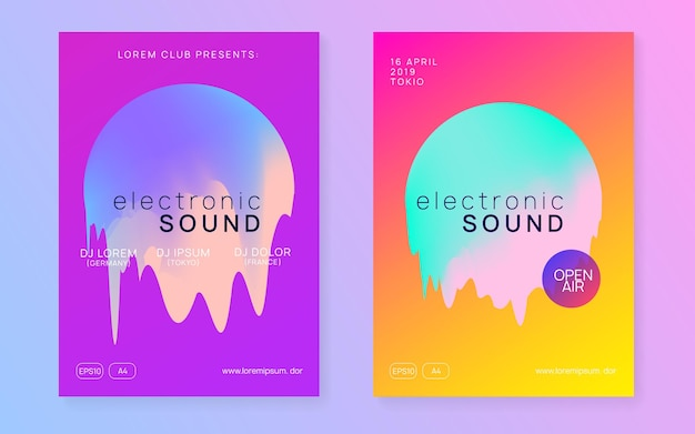 Summer music set. fluid holographic gradient shape and line.