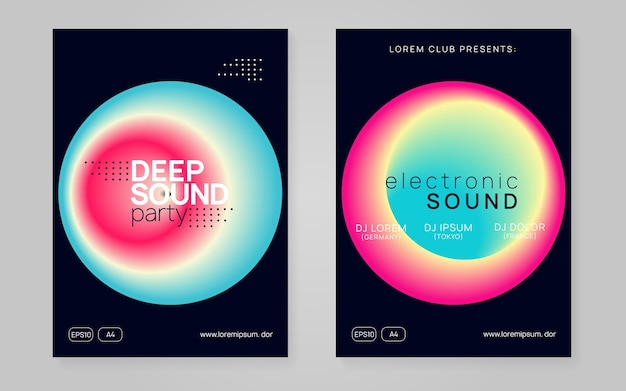 Summer music set. trendy trance party brochure layout. electronic sound. night dance lifestyle holiday. fluid holographic gradient shape and line. fest poster and flyer for summer music.