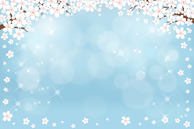 Summer nature background with cute white sakura on blue pastel background