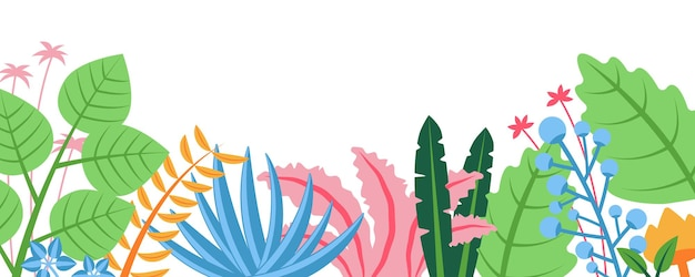 花柄のコンセプトと夏の自然の背景花が咲く水平ウェブバナー