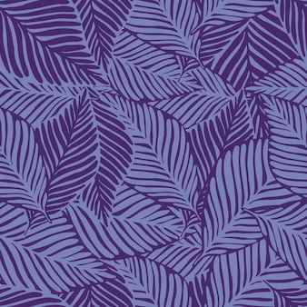 Summer nature jungle with exotic plant pattern in purple tones