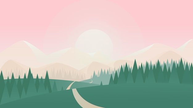 Summer nature landscape  illustration.   countryside scenery with green grass land meadow on hills, spruce tree forest and road to sun on horizon, simple natural scene background
