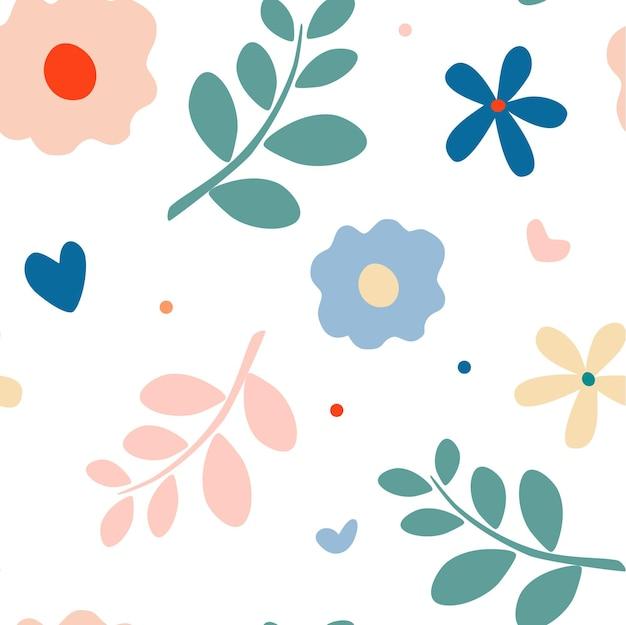 여름 자연 모티브 원활한 패턴 데이지 나뭇가지 꽃잎과 잎 초원 꽃 배경