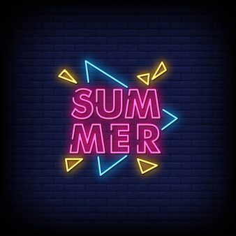 Summer neon signs style text