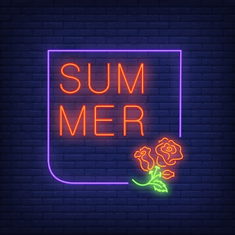 Summer neon text in frame with roses. Seasonal offer or sale advertisement
