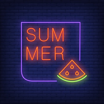 Summer neon text in frame with watermelon slice. Seasonal offer or sale advertisement