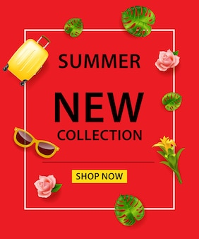 Summer New Collection Shop Now lettering on red background. Suitcase, sunglasses