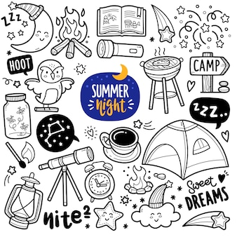 Summer night activity black and white doodle illustration
