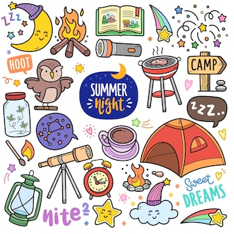 Summer night colorful vector graphics elements and doodle illustrations