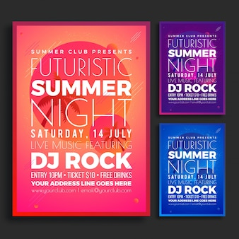 Summer night party flyer design concept in three different colors pink, purple and blue.