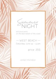 Шаблон плаката летней ночи. дизайн пригласительного билета на тропическую пляжную вечеринку с местом для текста