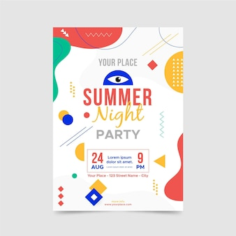 Summer night poster template