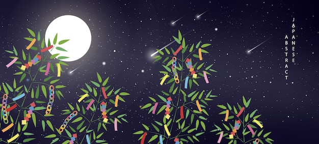 Summer night starry sky meteor moon and bamboo branches with colorful decoration of ribbon and tags