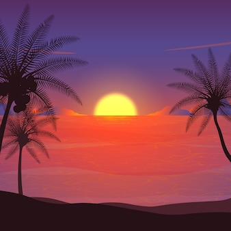Summer night, sunset beach illustration.