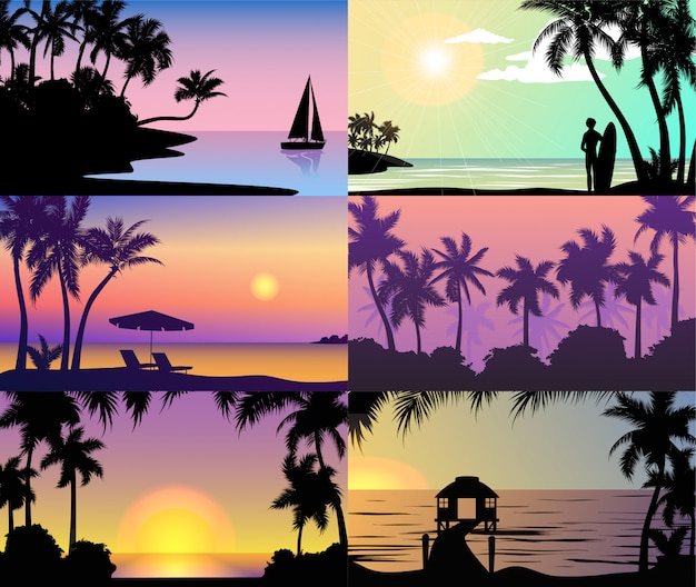 Summer night time sunset vacation nature tropical palm trees silhouette beach landscape of paradise island holidays  illustration.