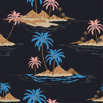 Summer night tropical island hand drawing style seamless pattern in vector i