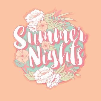夏の夜のタイポグラフィバナーラウンドデザイン