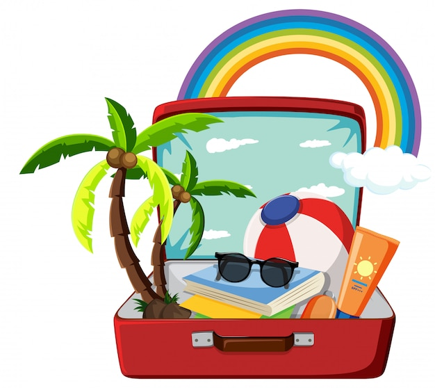 Summer object in the suitcase