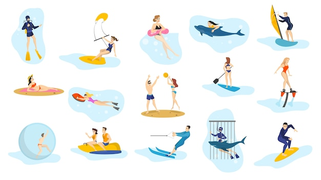 Summer ocean activities set. water sport, vacation