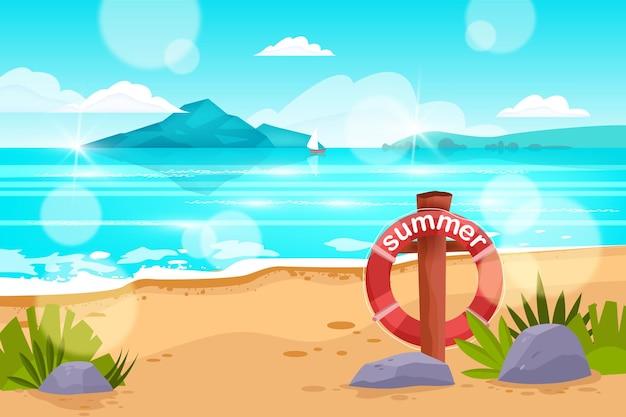 Летний океан пляж пейзаж море фон спасательный круг песок тропический вид остров лодка