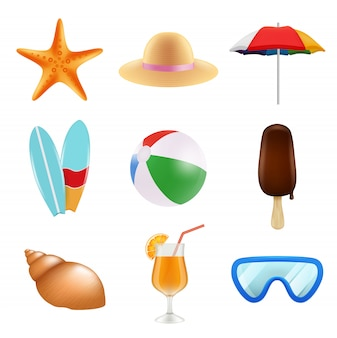 Summer odjects isolate. realistic icons of summer time