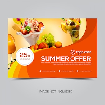 Summer offer banner template, 25% discount