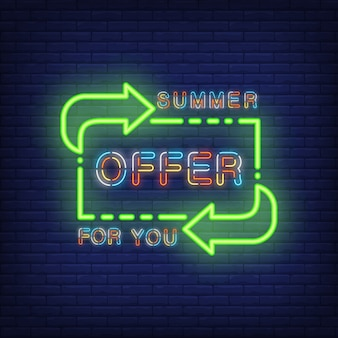Summer offer for you lettering in neon style. illustration with colorful glowing text