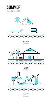Лето на пляже. плоский тонкий дизайн линии