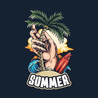 해변의 여름 서퍼들은 해변 코코넛 나무와 서핑 보드 한가운데에 코코넛 나무를 심습니다