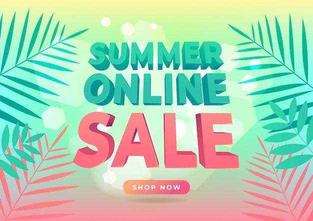熱帯の葉でトレンディなスタイルの夏のオンライン販売バナー。
