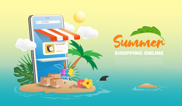 Летний интернет-магазин в дизайне сайтов и мобильных телефонов. концепция маркетинга умного бизнеса.