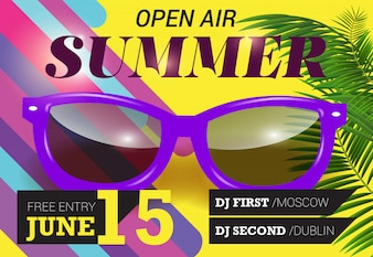 Summer, open air, June fifteen lettering with purple sunglasses. Summer invitation