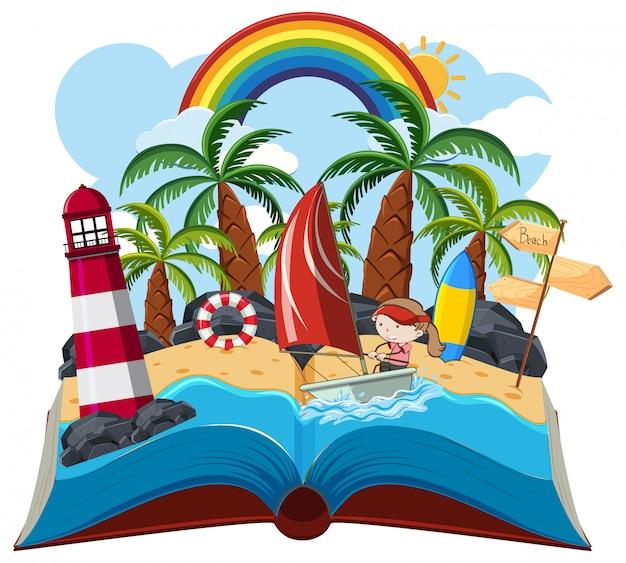 Летняя открытая книга на белом фоне