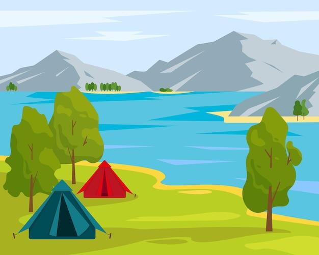 여름 또는 봄 풍경 호수와 산 근처 캠핑 텐트