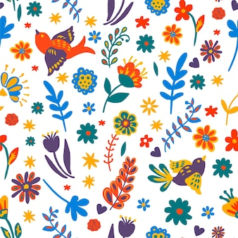 여름이나 봄 계절에 꽃이 피고 날아다니는 새와 함께 꽃과 잎의 매끄러운 패턴입니다. 여름 시즌의 꽃, 열대 동식물, 평평한 스타일의 잎 벡터가 있는 가지