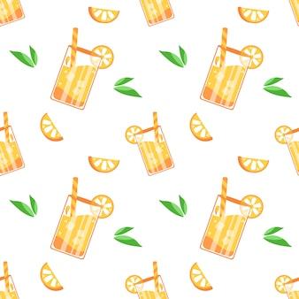 夏オレンジジュースパターン