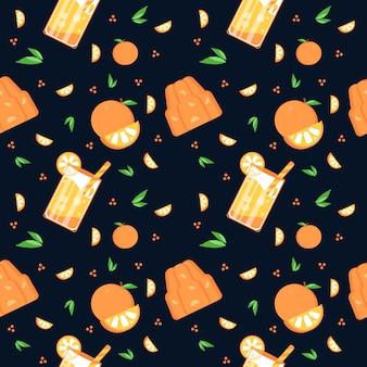 夏オレンジパターン3黒背景