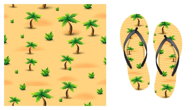 Summer orange seamless pattern with palm trees and tropical plants in the desert. pattern design for printing on flip-flops. visualization of flip-flops