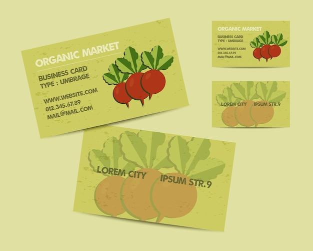 夏のオーガニック市場の名刺テンプレートセット