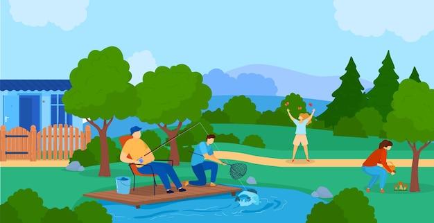 夏の野外活動フラットベクトルイラスト。漫画のアクティブな家族や友人のキャラクターが一緒に自然の中で時間を過ごし、湖で魚